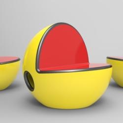 Siedzenie prosto z gry Pac-Man