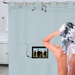 Zasłona prysznicowa z systemem nagłośnienia